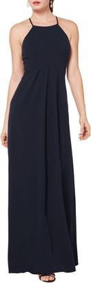 #Levkoff Halter Crepe A-Line Gown