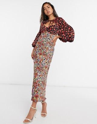 ASOS DESIGN satin sweetheart tie neck maxi dress in mixed floral print