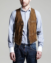 DSquared DSquared2 Metal Wired Suede Vest, Camel