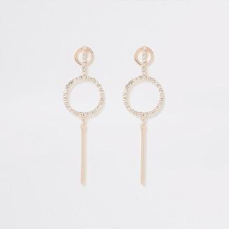 River Island Womens Rose Gold colour diamante pave drop earrings