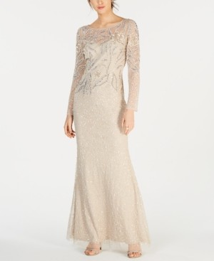 Adrianna Papell Petite Beaded Overlay Column Gown