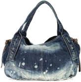 Joe's Jeans Joes Blue Denim Silver Tone Hardware Tassel Snap Closure Shoulder Handbag
