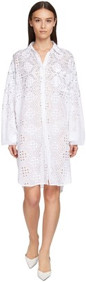 Ermanno Scervino Poplin Eyelet Lace Mini Dress W/Crystals