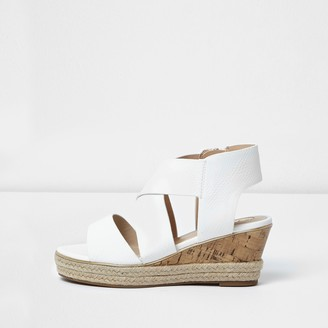 River Island Girls White cork wedge sandals
