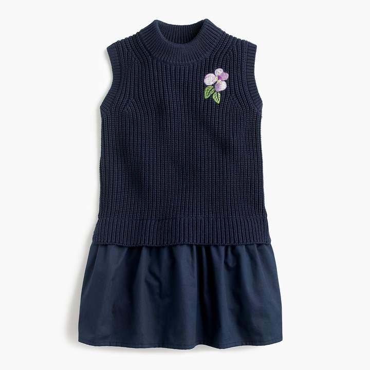 J.Crew Girls' flower-embroidered sweater jumper