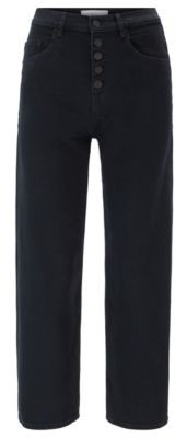 HUGO BOSS Relaxed-fit cropped jeans in dark-blue stretch denim