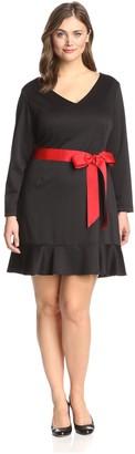 Melissa Masse Plus Women's Ruffle Hem Dress Black/Red 1X