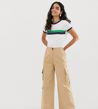Monki wide leg utility pants with oversized pockets in beige