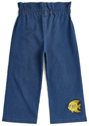 Mini Rodini Fish Embroidered Paperbag Jeans (18 Months-11 Years)