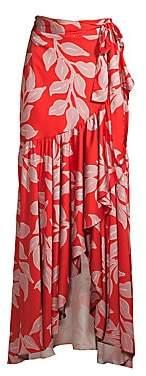 PatBO Women's Leaf Print Wrap Skirt - Size 0