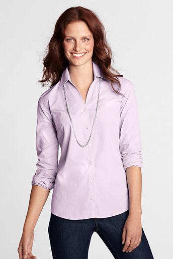 Lands' End Women's Plus Size Long Sleeve Splitneck Textured Shirt