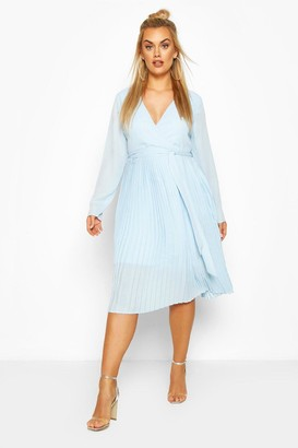 boohoo Plus Occasion Pleated Midi Dress