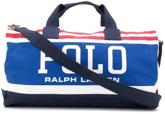 Polo Ralph Lauren Striped-Logo Duffle Bag