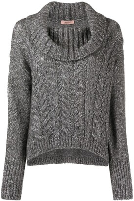 Twin-Set Roll Neck Cable Knit Jumper