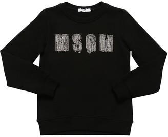 MSGM Embellished Logo Cotton Sweatshirt