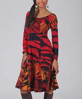 Aller Simplement Red & Black Floral Scoop Neck Fit & Flare Dress