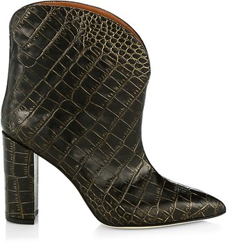 Paris Texas Croc-Embossed Leather Ankle Boots
