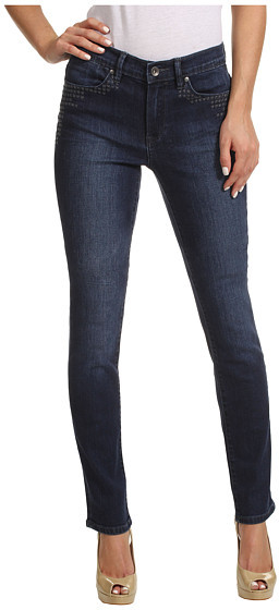 Calvin Klein Jeans Ultimate Skinny Ankle Roll w/ Embroidery in Dark Wash