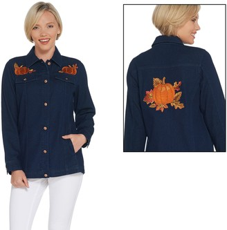 Quacker Factory Embroidered Button Front Denim Jacket with Pockets