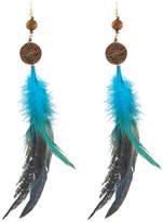 Nakamol Feather & Beaded Drop Earrings