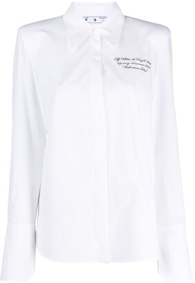 Off-White Logo-Embroidered Long-Sleeve Shirt
