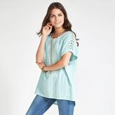 Apricot Green Linen Blend Crochet Shoulder T-shirt