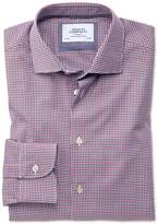 Extra Slim Fit Semi-Spread Collar Business Casual Gingham Red and Navy Cotton Dress Shirt Single Cuff Size 14.5/33 by Charles Tyrwhitt
