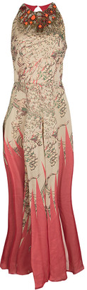 Matthew Williamson Floral Print Silk Embellished Neck Sleeveless Maxi Dress M