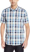 Nautica Men's Short Sleeve Poplin Plaid Wrinkle Resistant Shirt