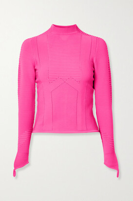 Adam Selman Sport Ribbed Stretch-knit Top - Bright pink