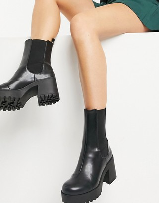 Monki Malwina faux leather chunky boot in black