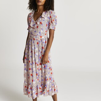 River Island Womens Pink floral belted frill midi dress