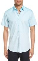 Stone Rose Men's Gradient Diamond Geo Print Sport Shirt