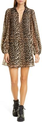 Ganni Leopard Print Pleated Georgette Long Sleeve Minidress