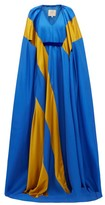 Roksanda Marva Satin-striped Silk-twill Gown - Womens - Blue Multi