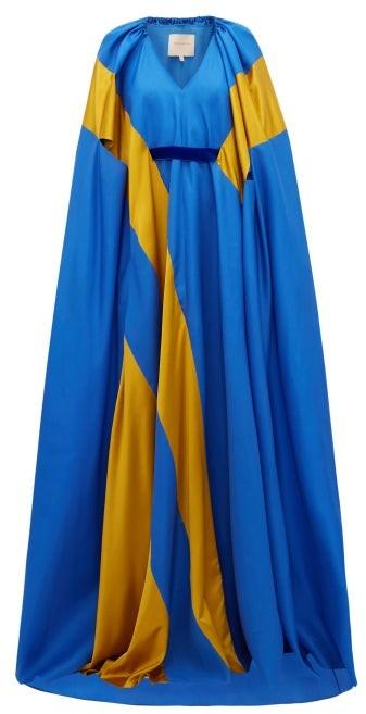 Roksanda Marva Satin-striped Silk-twill Gown - Blue Multi