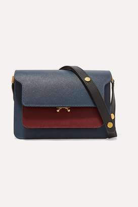 Marni Trunk Medium Color-block Textured-leather Shoulder Bag - Blue