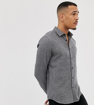 ASOS DESIGN Tall regular fit gray flannel marl shirt