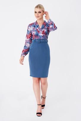 Paper Dolls Anjo Blue Floral-Print Belted Shirt Dress