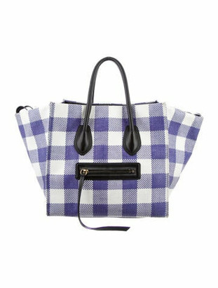 Celine Gingham Mini Luggage Tote white