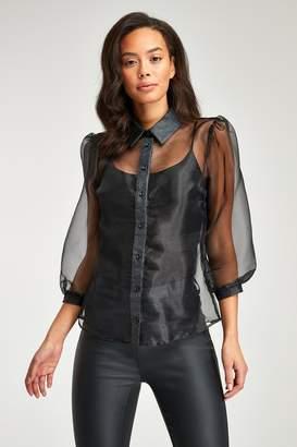 Next Womens Black Sheer Organza Puff Sleeve Shirt - Black