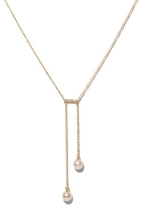 Mateo Diamond, Pearl & 14kt Gold Lariat Necklace - Pearl
