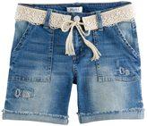 Mudd Girls 7-16 & Plus Size Crochet Belted Dark Wash Denim Midi Shorts