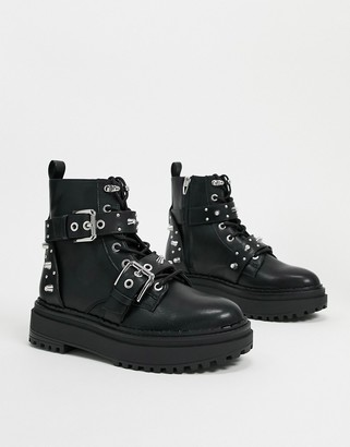 Bershka stud and buckle detail boots in black