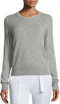 Vince Contrast Tipping Crewneck Sweater, Heather Steel/Off White