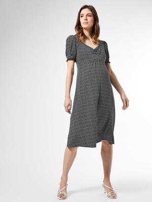 Dorothy Perkins Maternity Ruch Front Empire Split Midi Dress - Mono Print