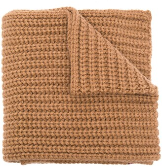 DSQUARED2 Chunky-Knit Logo-Patch Scarf