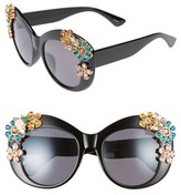 Leith Women's 55Mm Floral Embellished Cat Eye Sunglasses - Black