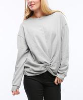 Heather Gray Knot-Front Sweatshirt