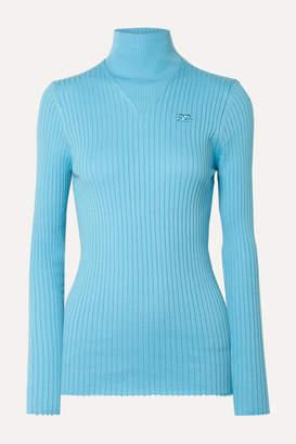 Courreges Ribbed Cotton Turtleneck Sweater - Light blue
